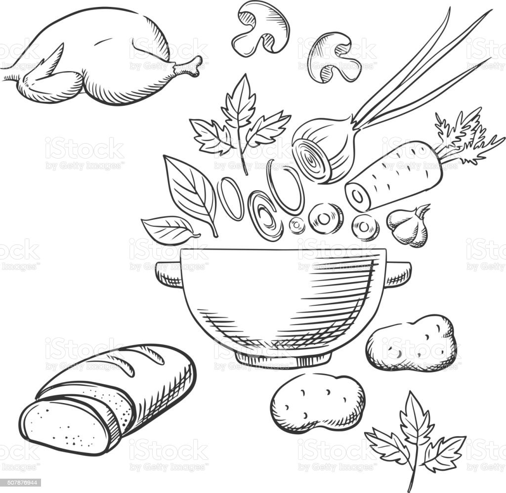 Sketch of cooking a dinner salad vector art illustration