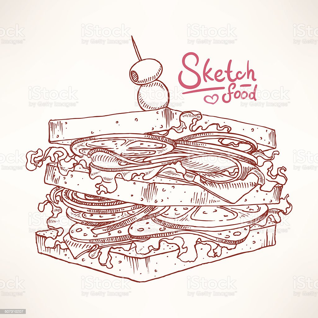 sketch of delicious sandwich vector art illustration