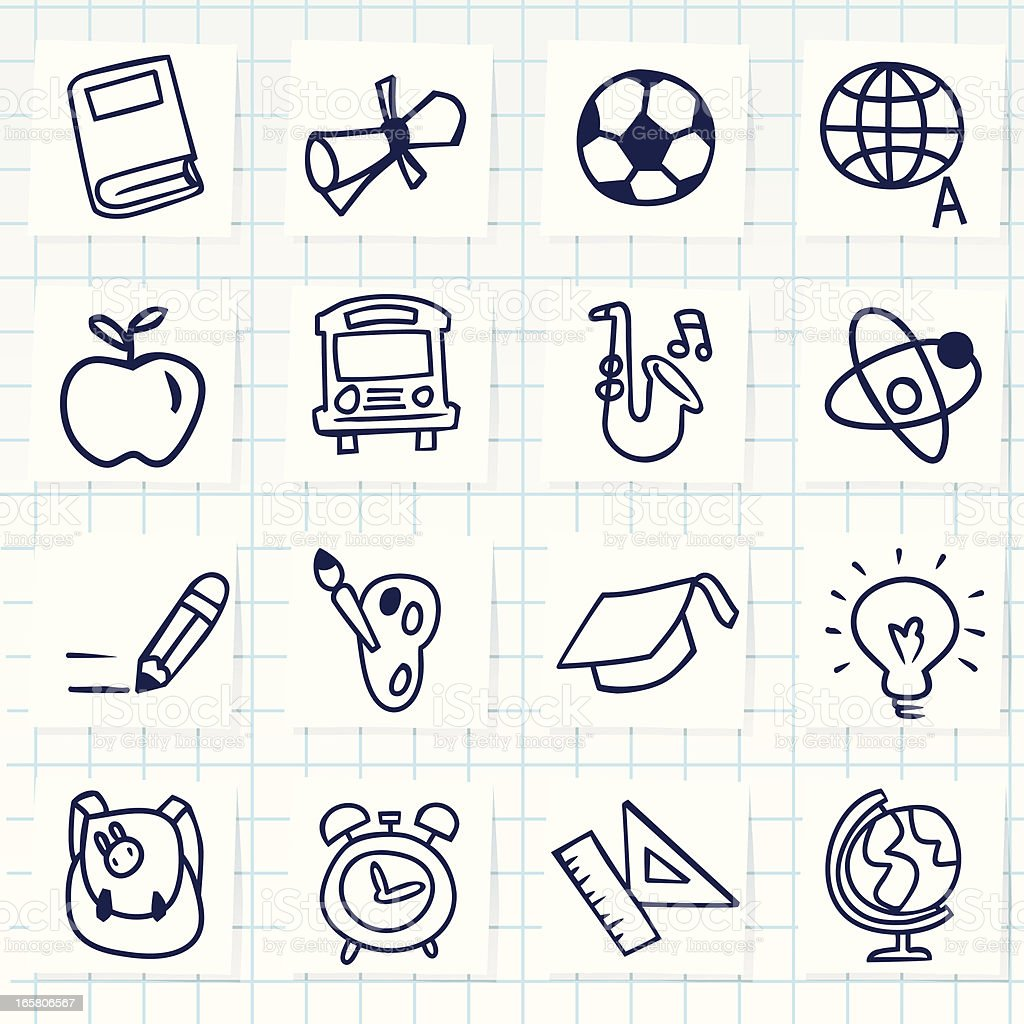 A sketch of different back to school items royalty-free stock vector art