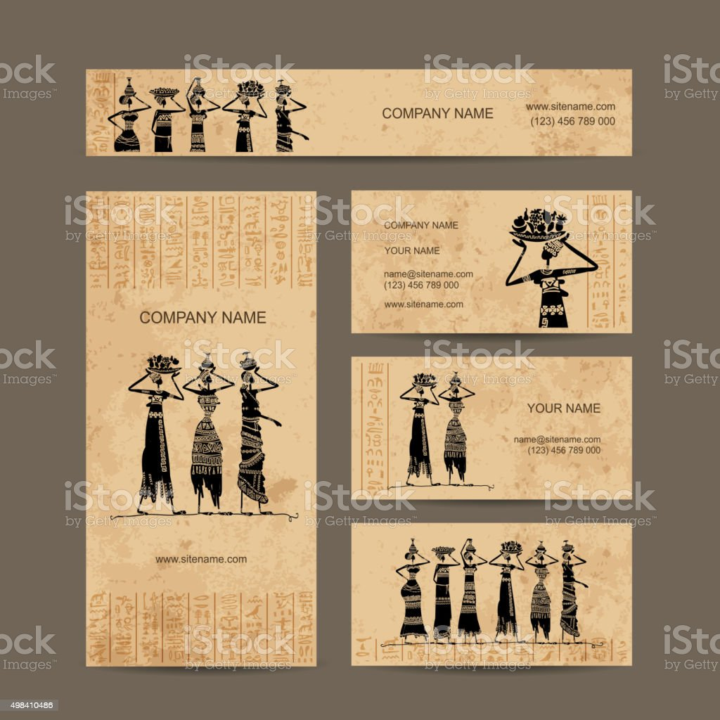 Sketch of egypt women with jugs. Business cards design vector art illustration