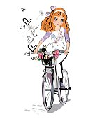 Sketch of fashion girl on the bicycle with a dog.