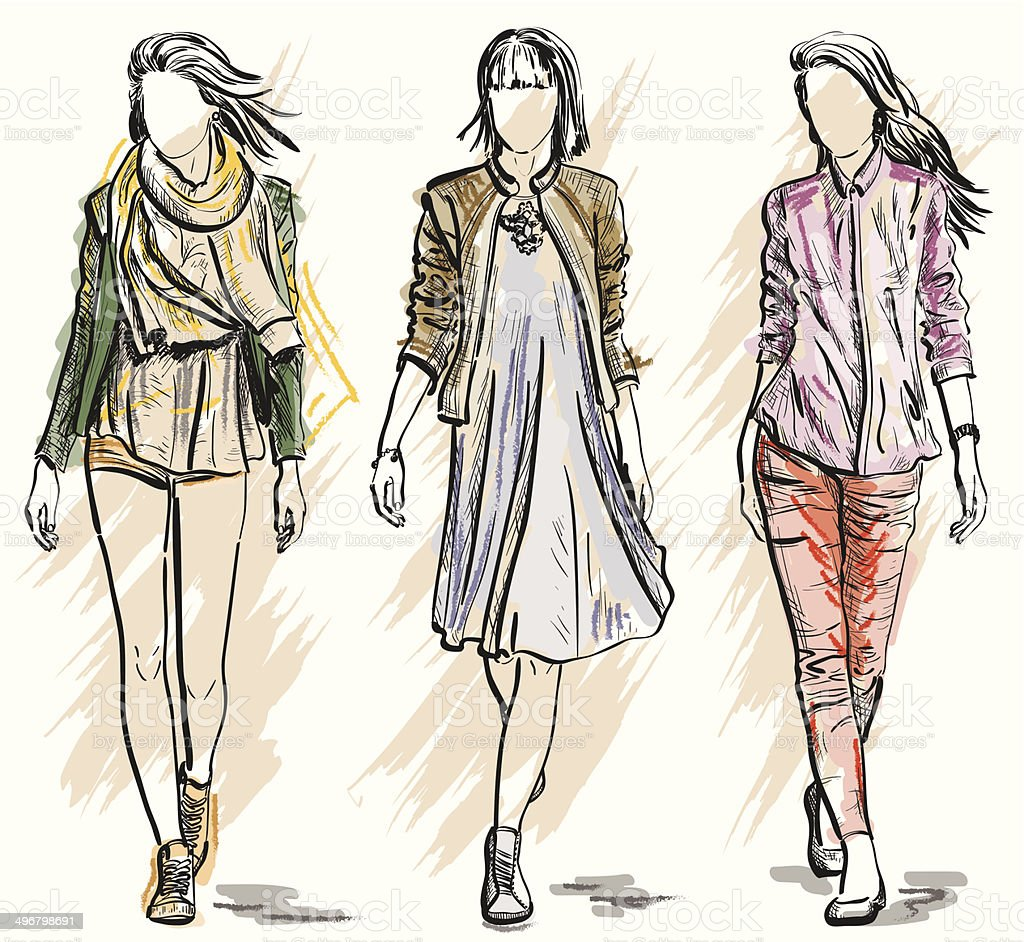 Sketch of Fashion models vector art illustration