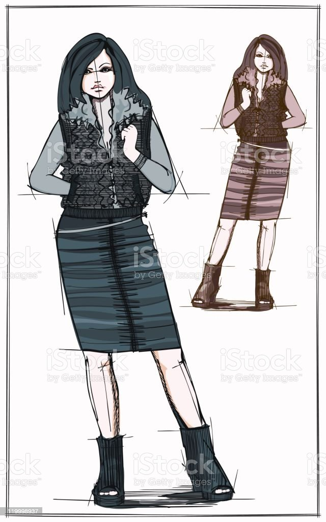 Sketch of fashionable woman in a black skirt and waistcoat vector art illustration