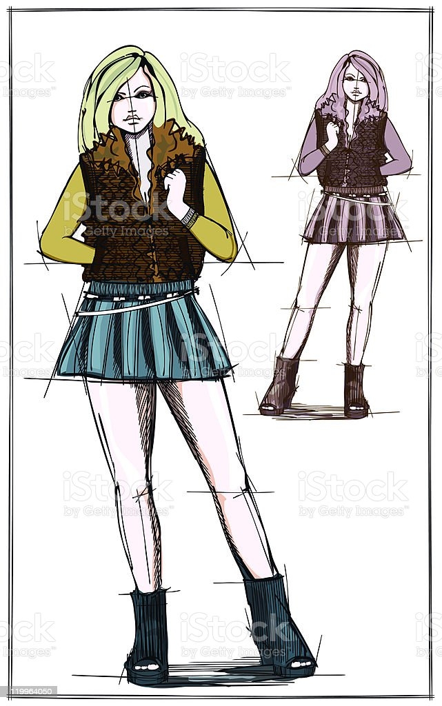 Sketch of fashionable woman in a mini skirt and waistcoat vector art illustration
