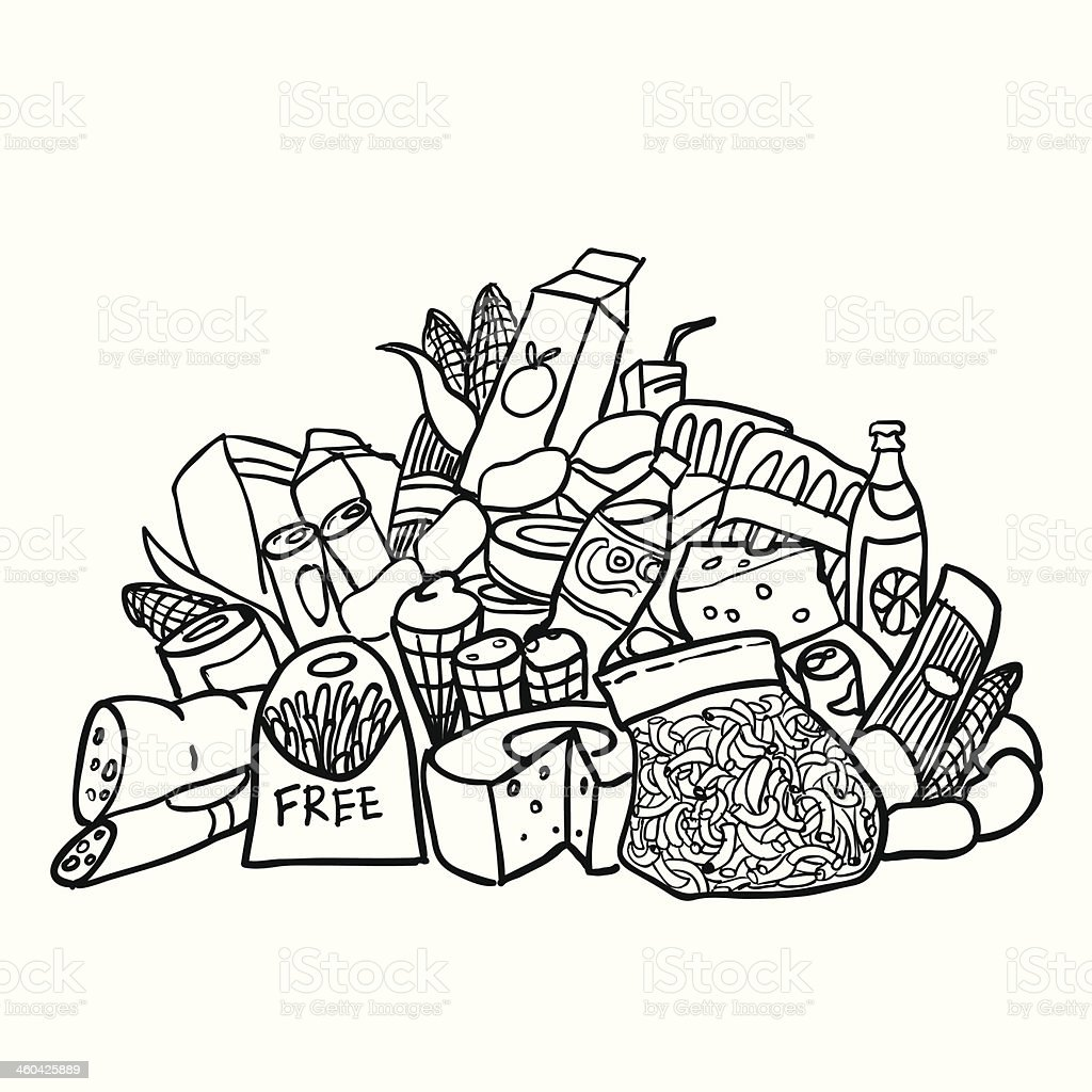 sketch of food products isolated on white. royalty-free stock vector art