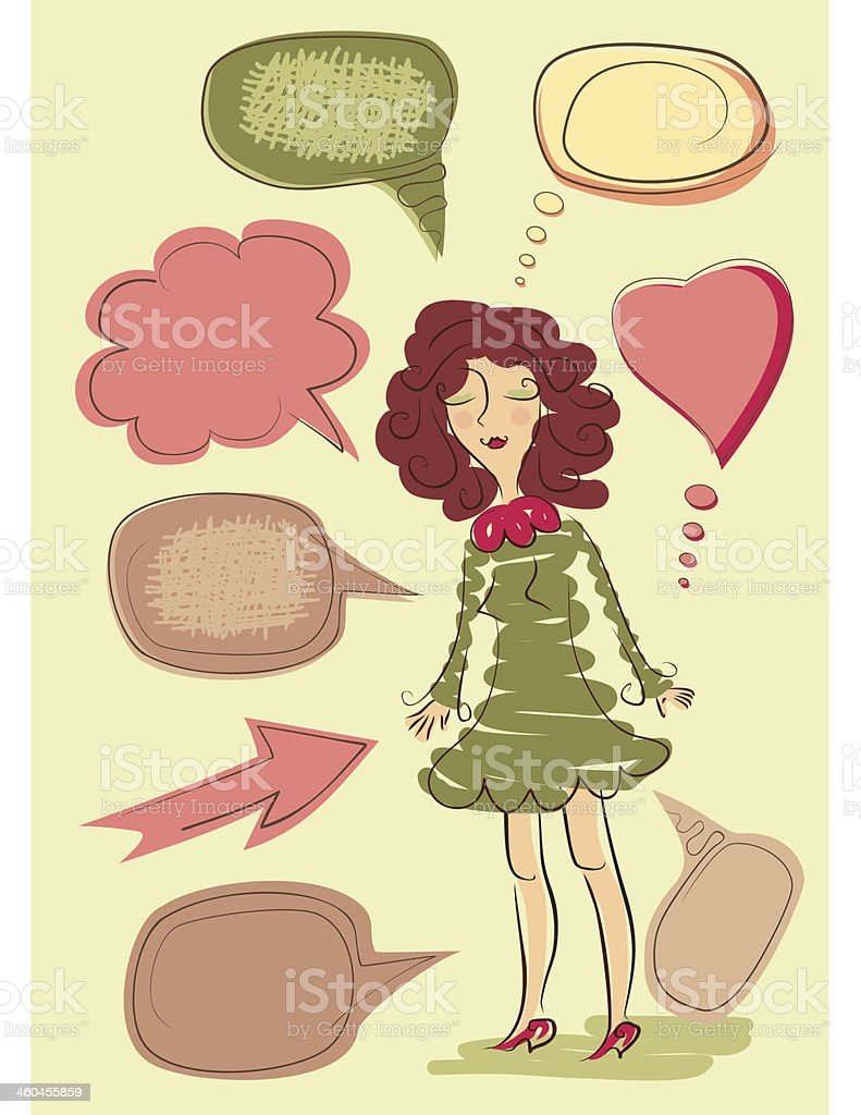 sketch of girl in green dress with speech bubbles vector art illustration