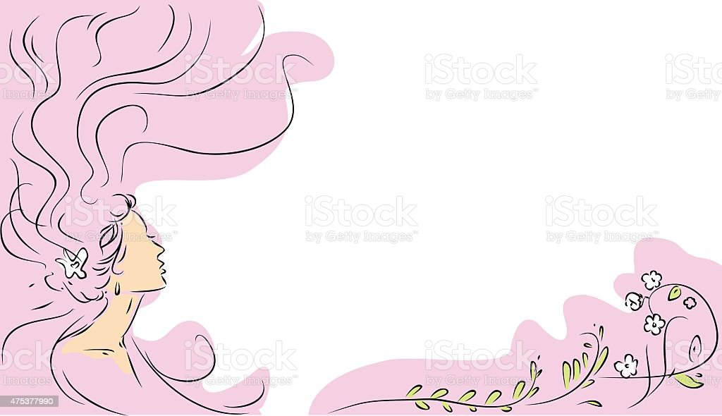 Sketch of girl with long hair and flowers vector art illustration