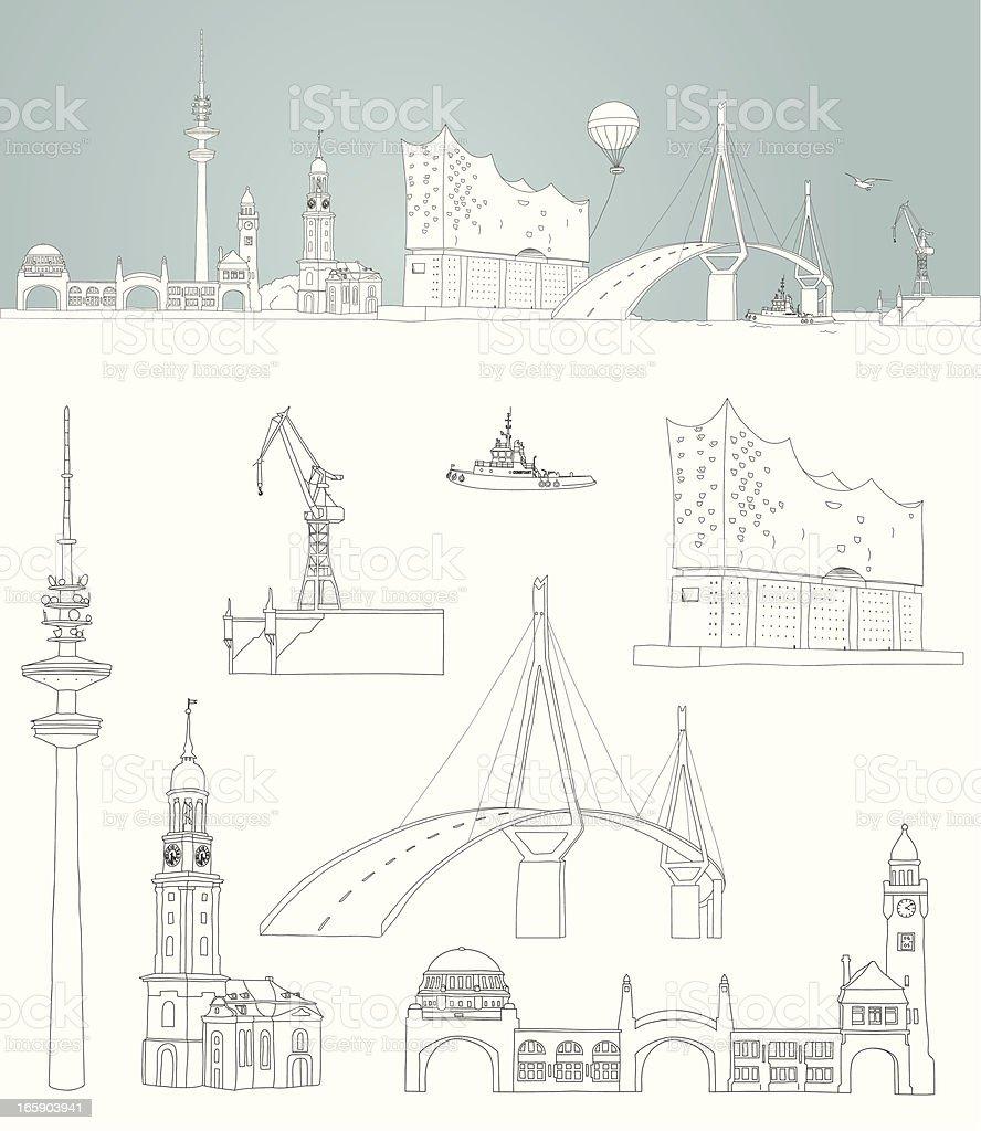 sketch of Hamburg -  harbour skyline vector art illustration