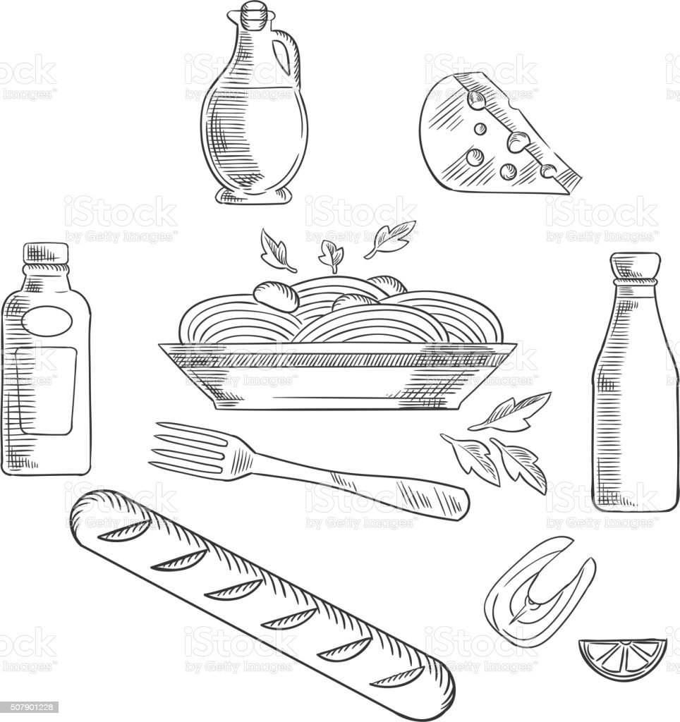 Sketch of italian pasta and food vector art illustration