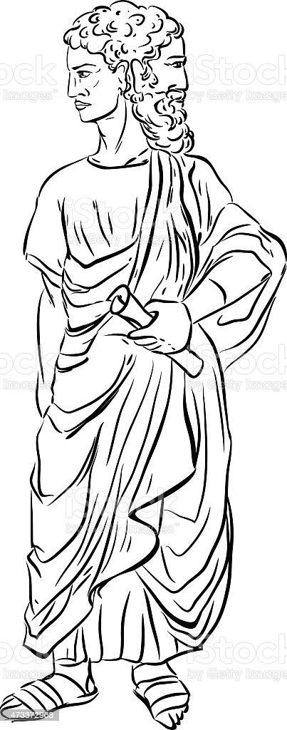 Sketch of Janus vector art illustration