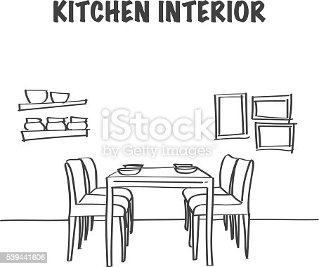 Sketch Of Kitchen Interior With Dinner Table Stock Vector Art 539441606