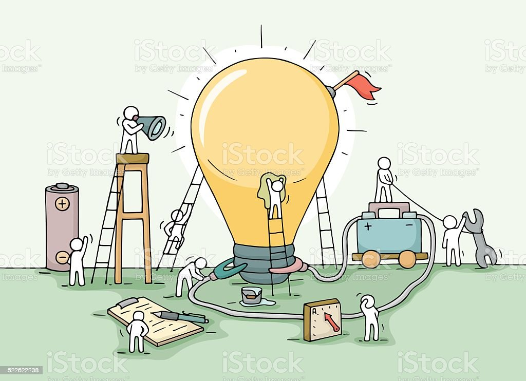 Sketch of lamp idea construction with working little people vector art illustration