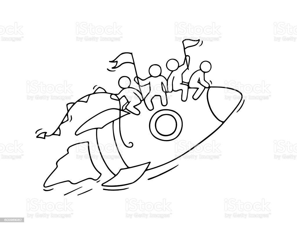 Sketch of  little people with flying rocket. vector art illustration