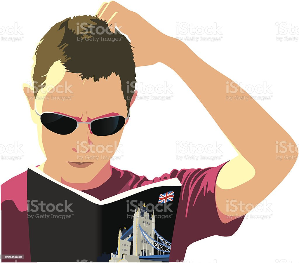 Sketch of man scratching head and reading a London tour book royalty-free stock vector art