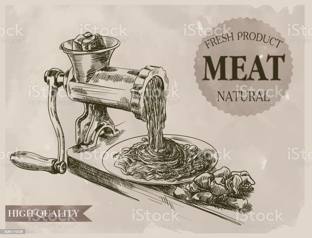 sketch of meat grinder vector art illustration