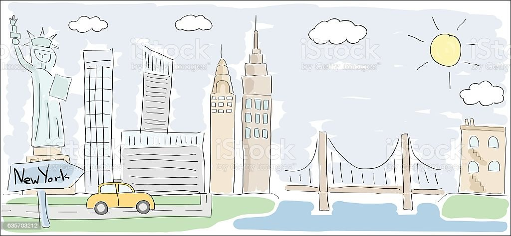 sketch of New York city America child style drawing vector art illustration
