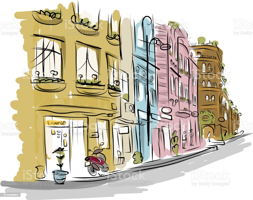 Sketch of old street for your design vector art illustration