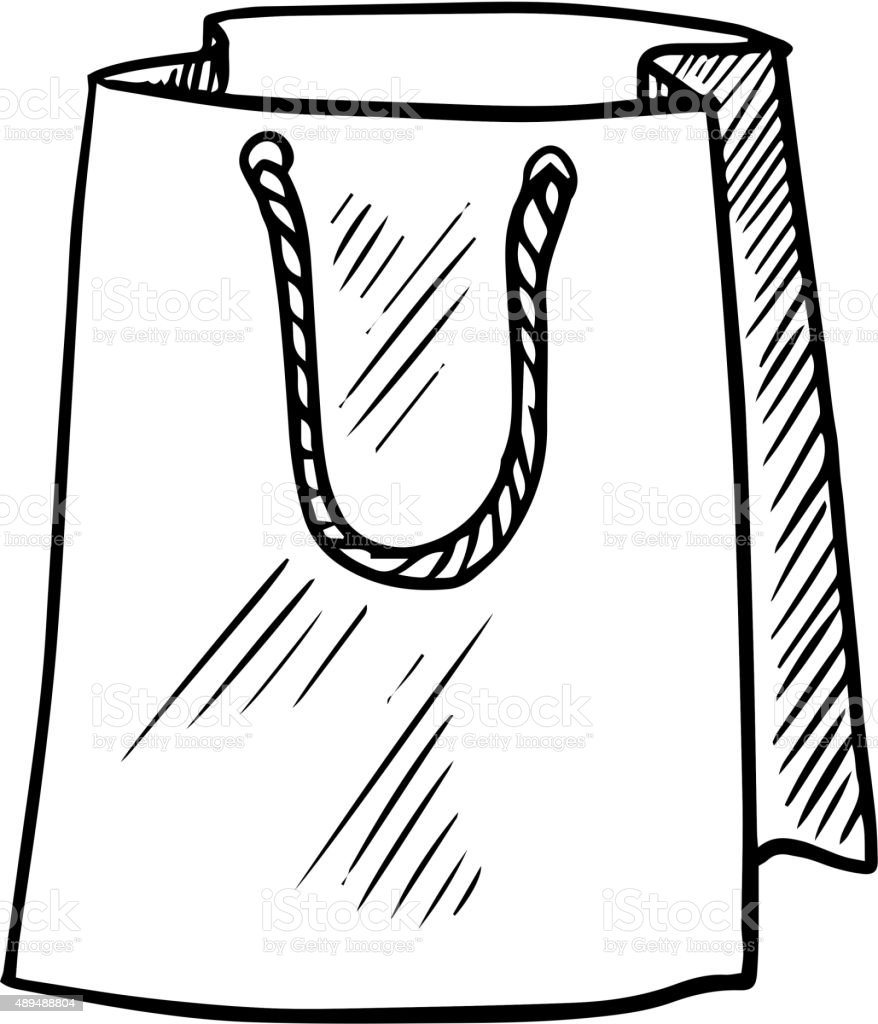 Paper bag sketch - Sketch Of Paper Shopping Bag Royalty Free Stock Vector Art