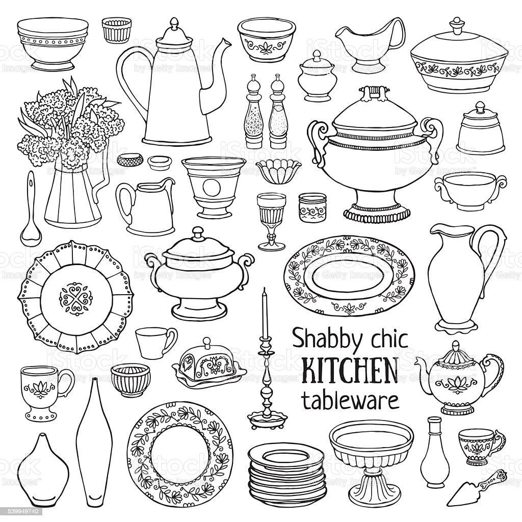 Sketch of shabby-chic style tableware set. vector art illustration