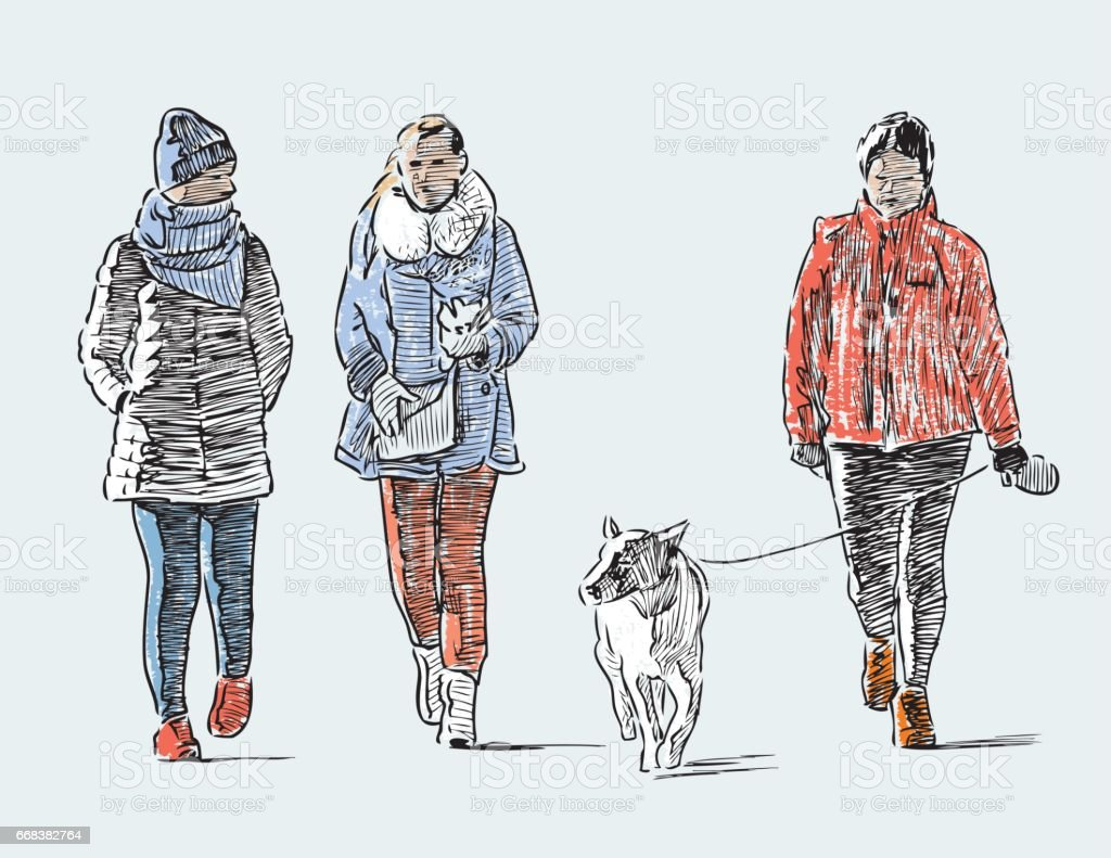 sketch of the casual towns pedestrians vector art illustration