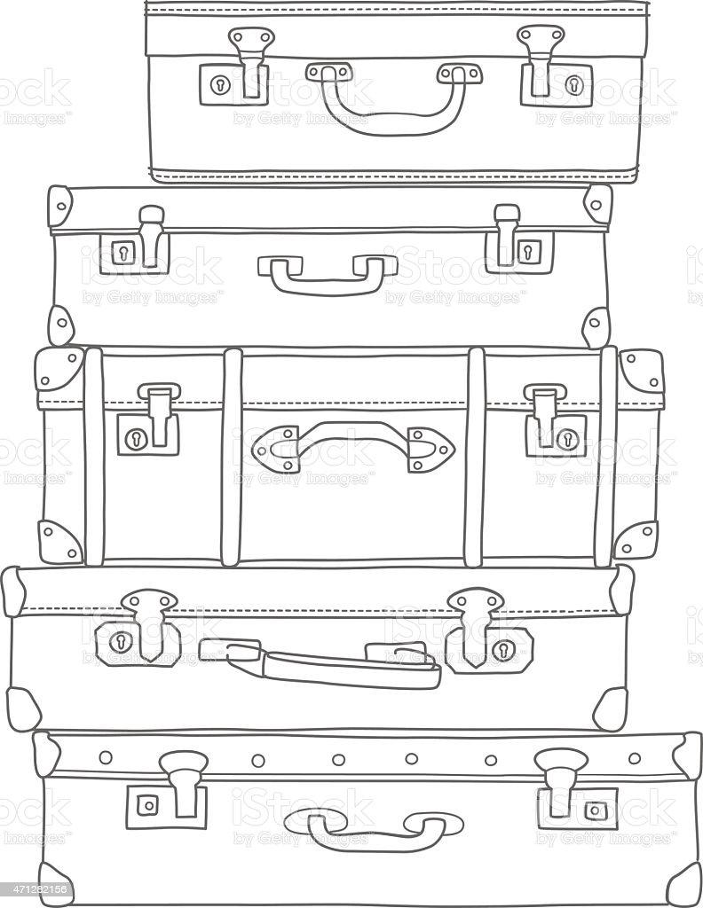 Esboço de malas no fundo branco, isolado vetor e ilustração royalty-free royalty-free