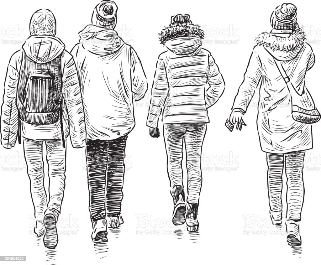sketch of the walking students vector art illustration