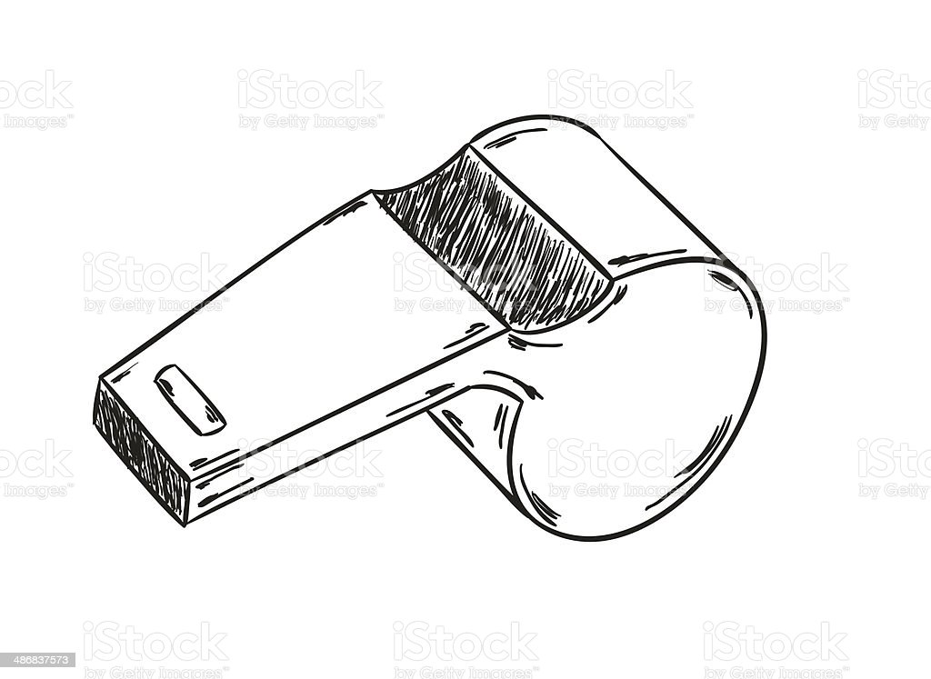 sketch of the whistle vector art illustration