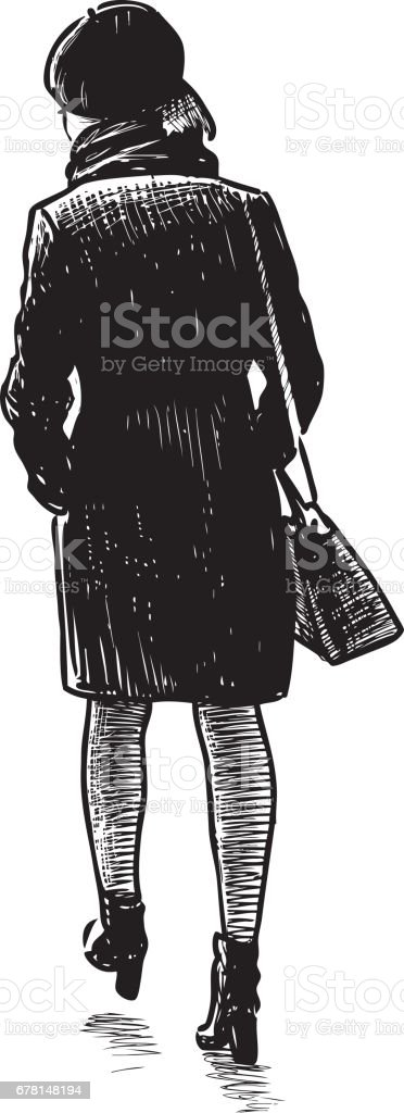 sketch of the young walking townswoman vector art illustration
