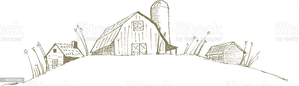 Sketch of three old farm houses in a line vector art illustration