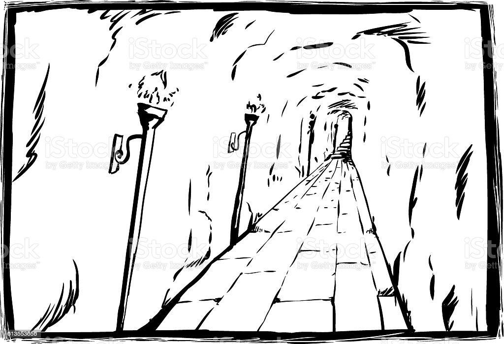 Sketch of torches in underground passage vector art illustration