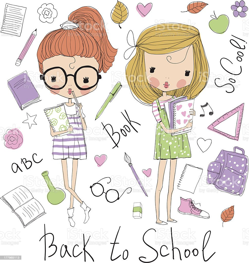 Sketch of two girls holding books with school supplies royalty-free stock vector art