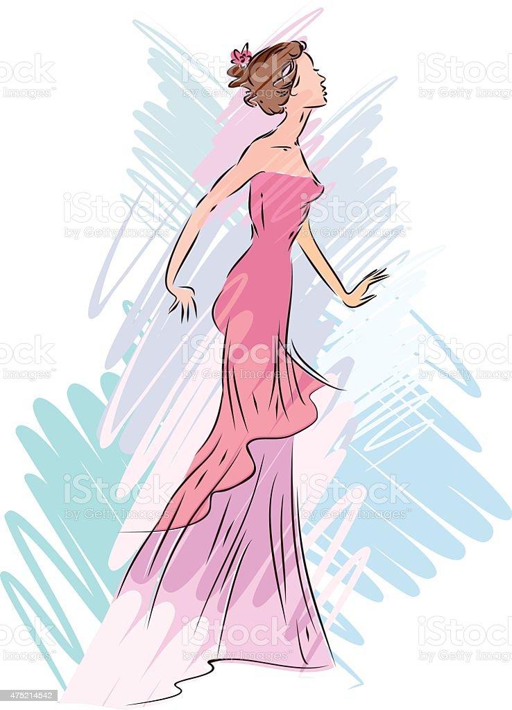 Boceto De Mujer En Vestido De Noche Illustracion Libre de Derechos ...