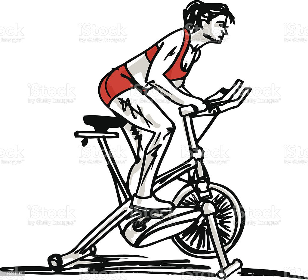 sketch of Woman on stationary training bicycle vector art illustration
