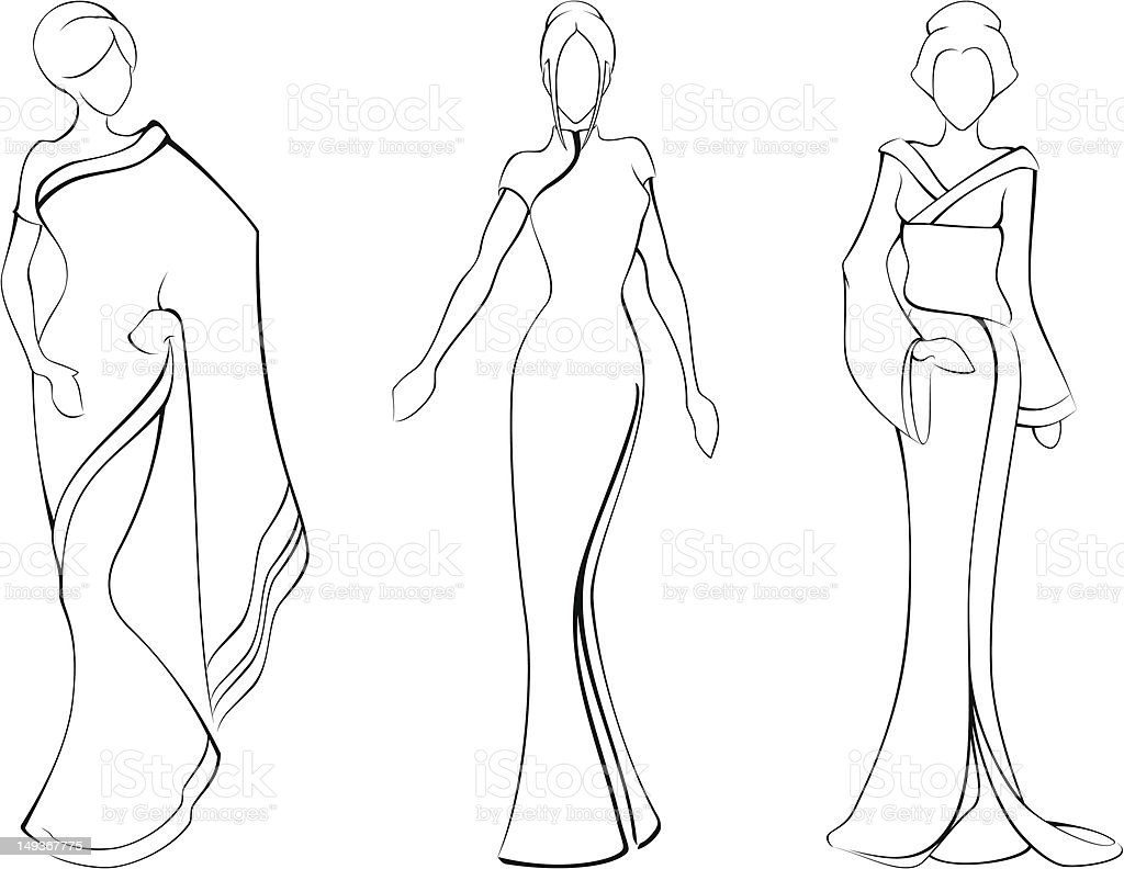 Sketch of women in traditional asian dresses royalty-free stock vector art