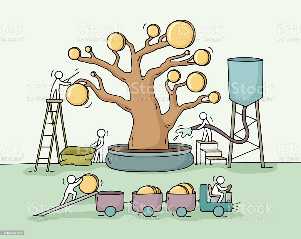 Sketch of working little people harvest a money tree vector art illustration