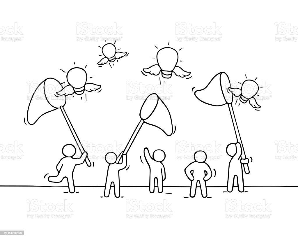 Sketch of working little people with flying lamp ideas. vector art illustration