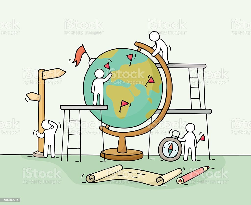 Sketch of working little people with globe. vector art illustration