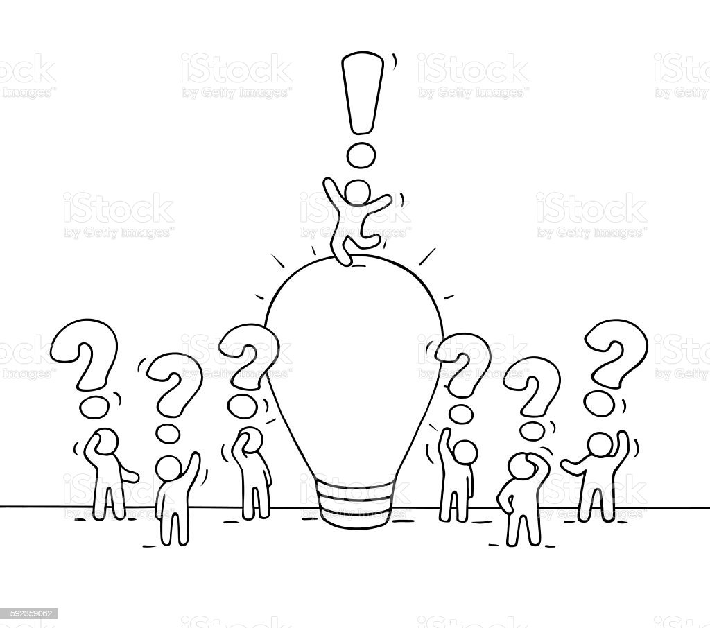 Sketch of working little people with lamp idea. vector art illustration