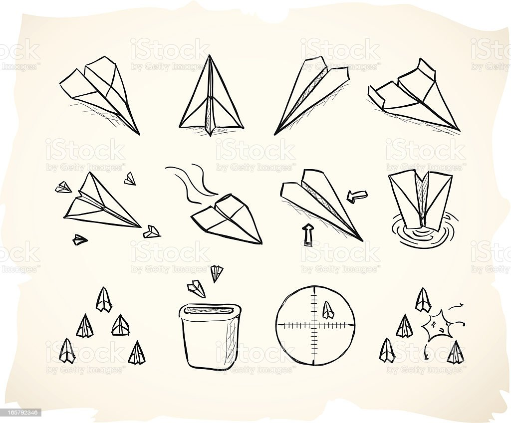 Sketch paper airplane grunge icons vector art illustration
