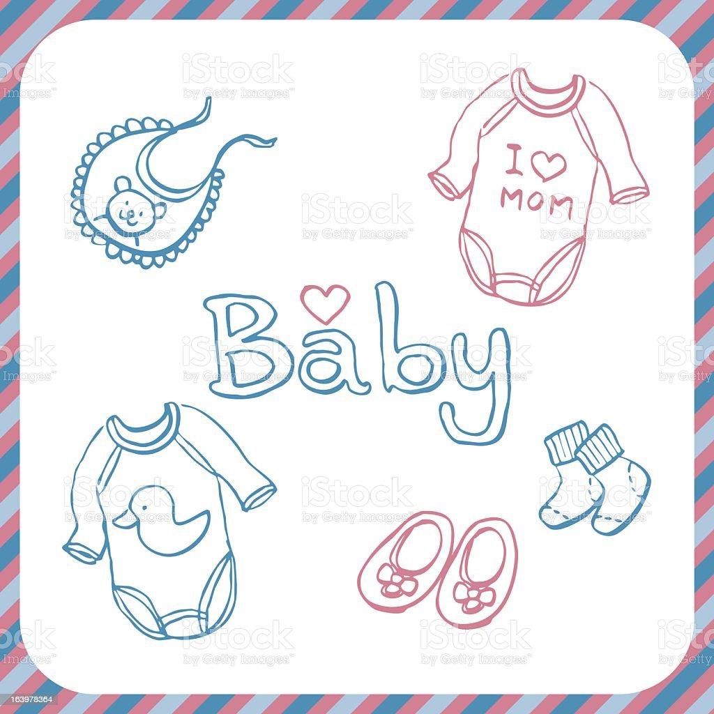 sketch pastel color baby clothes bib sock & shoe royalty-free stock vector art
