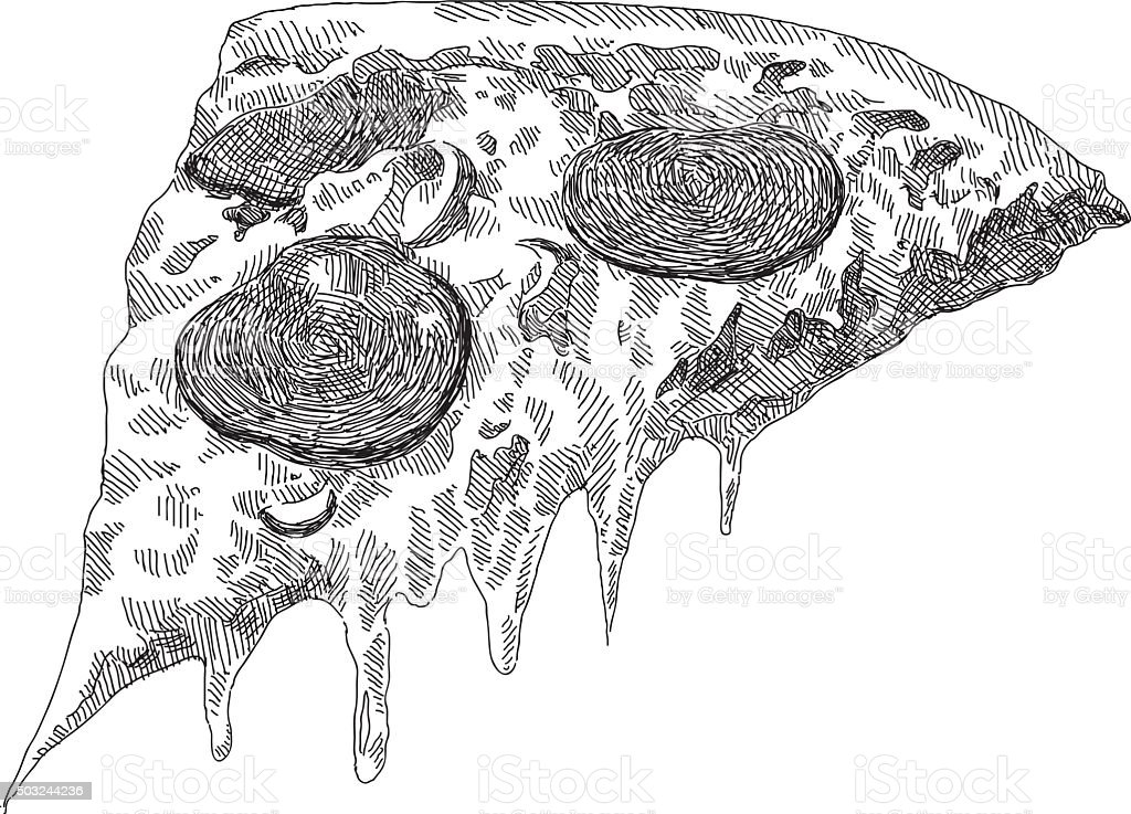 Sketch Pepperoni Pizza vector art illustration