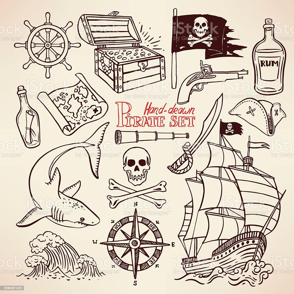sketch pirate set vector art illustration
