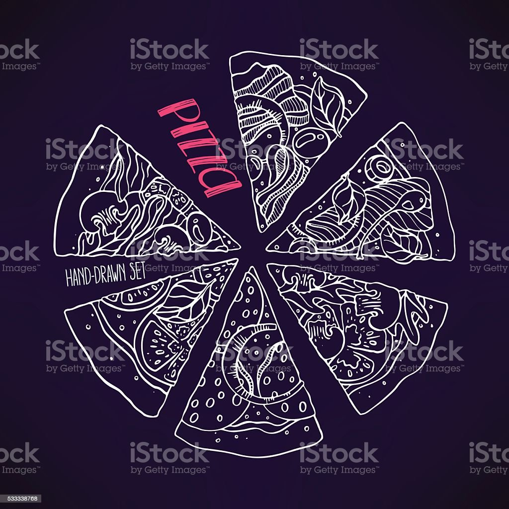 sketch pizza with various stuffing vector art illustration