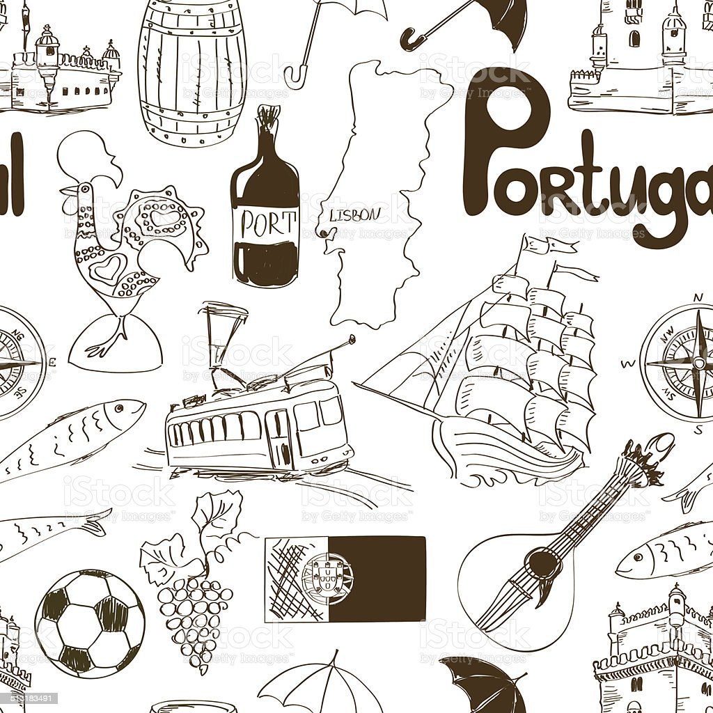 Sketch Portugal seamless pattern vector art illustration