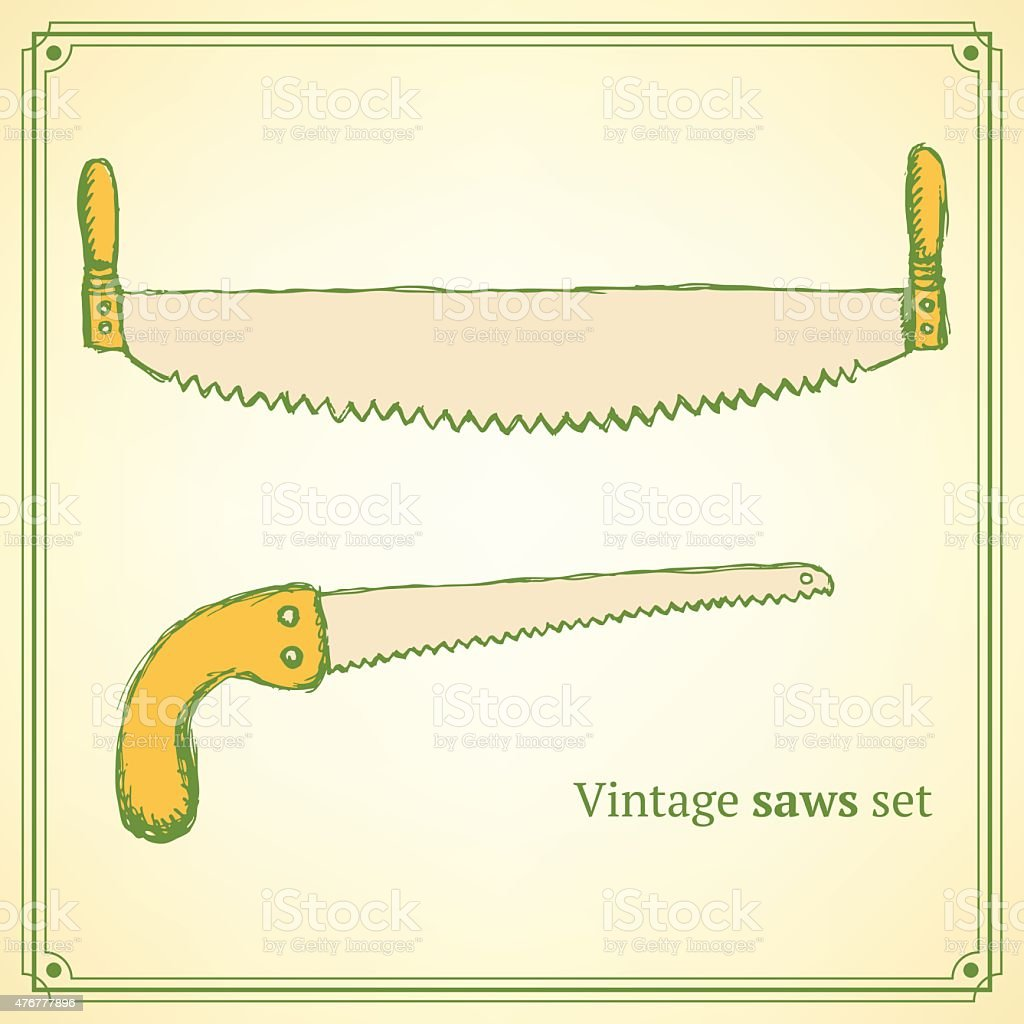 Sketch saws for wood in vintage style vector art illustration