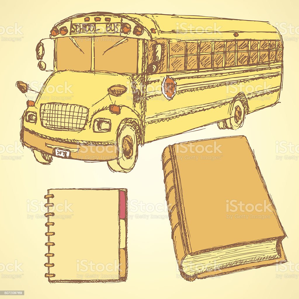 Sketch school bus, book and notebook royalty-free stock vector art