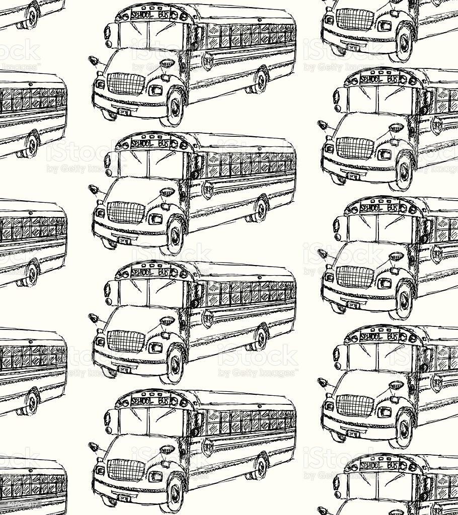 Sketch school bus in vintage style royalty-free stock vector art