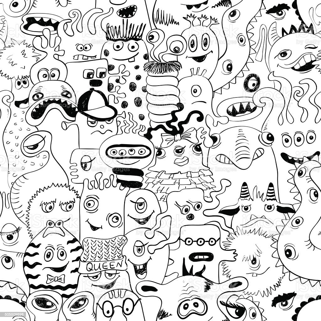 Sketch Seamless Pattern With Funny Monsters. vector art illustration