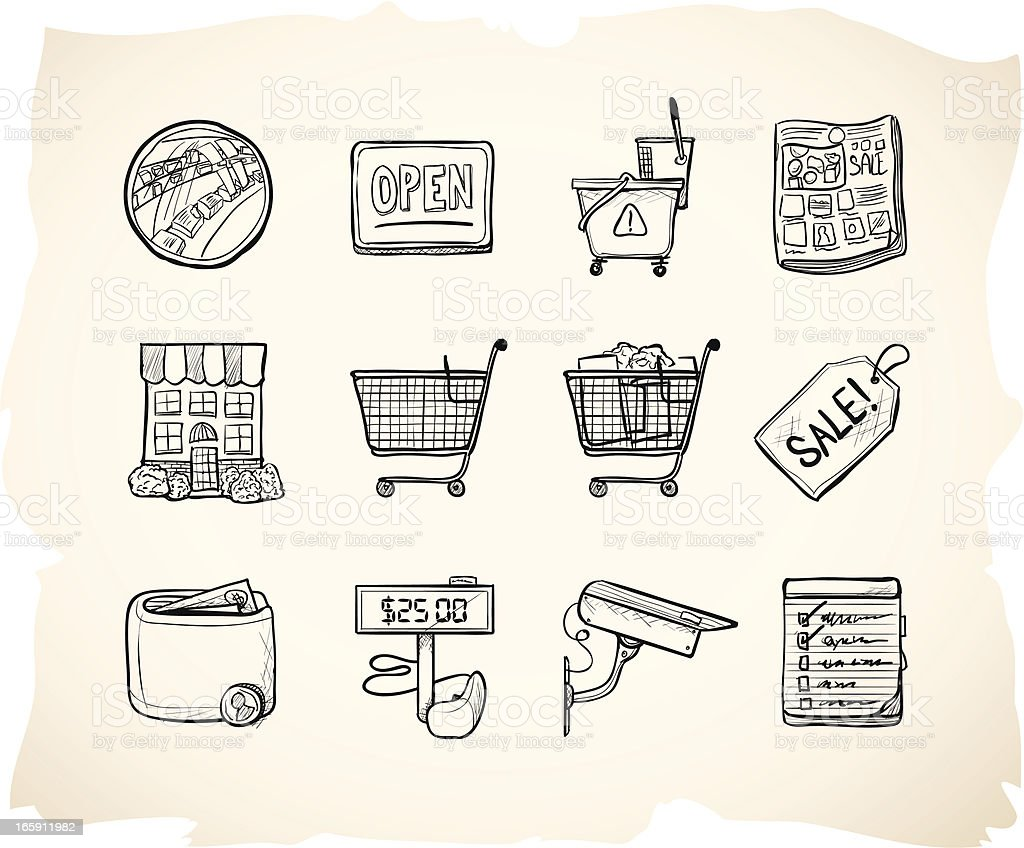Sketch Shopping Store Icons vector art illustration
