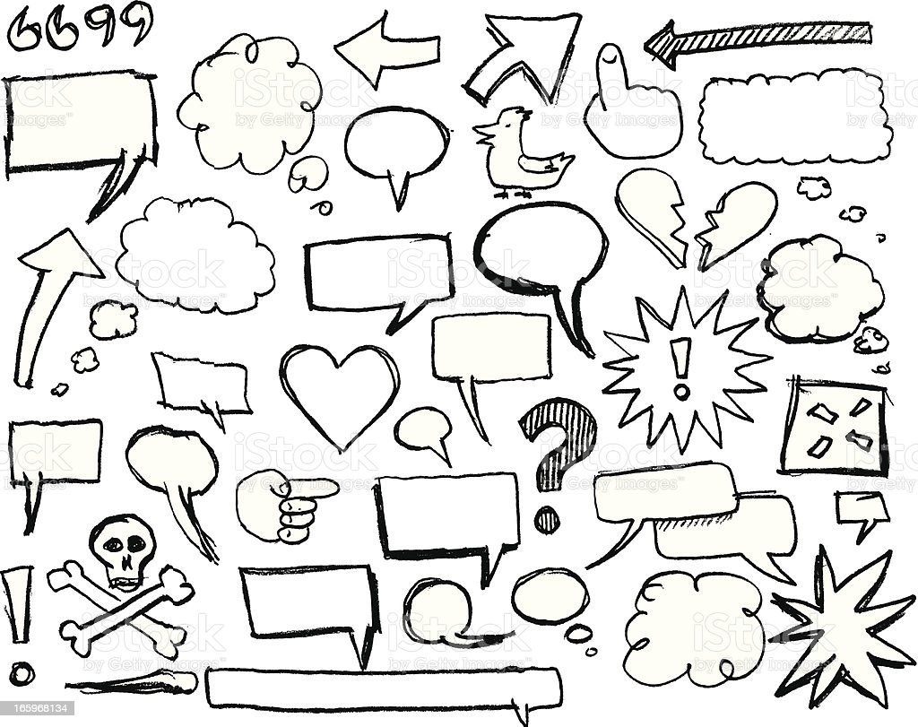 Sketch speech bubbles and graphics royalty-free stock vector art